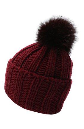 Женский вязаная шапка из кашемира INVERNI бордового цвета, арт. 1128CMG1 | Фото 2