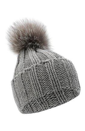 Женский вязаная шапка из кашемира INVERNI светло-серого цвета, арт. 1128CMG1   Фото 1