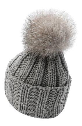 Женский вязаная шапка из кашемира INVERNI светло-серого цвета, арт. 1128CMG1   Фото 2