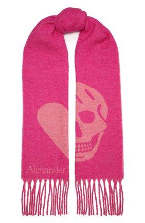 Женский шарф ALEXANDER MCQUEEN розового цвета, арт. 628294/3C78Q   Фото 1 (Материал: Текстиль, Шерсть, Синтетический материал)