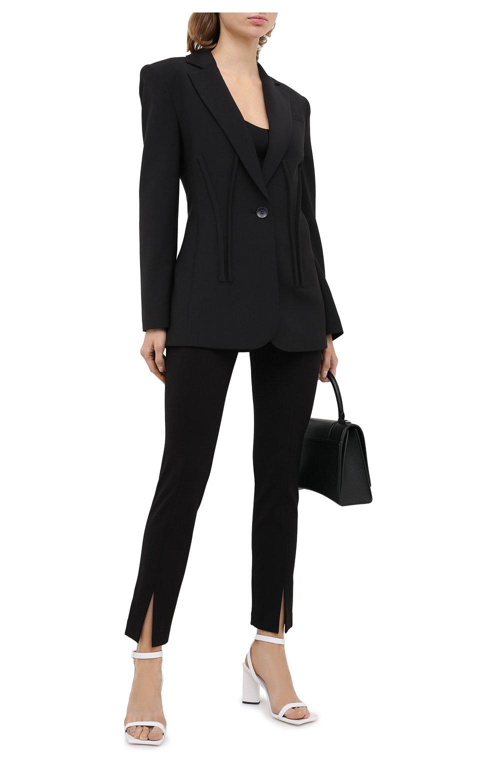 Женский жакет TIBI черного цвета, арт. P220TW8169 | Фото 2 (Материал внешний: Шерсть, Синтетический материал; Рукава: Длинные; Длина (для топов): Удлиненные; Стили: Классический; Случай: Формальный; 1-2-бортные: Однобортные; Женское Кросс-КТ: Жакет-одежда; Материал подклада: Купро)
