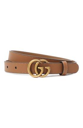 Женский кожаный ремень с логотипом бренда на пряжке GUCCI темно-бежевого цвета, арт. 409417/AP00T   Фото 1 (Материал: Кожа)