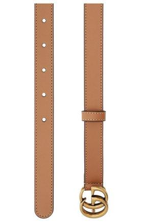 Женский кожаный ремень с логотипом бренда на пряжке GUCCI темно-бежевого цвета, арт. 409417/AP00T   Фото 2 (Материал: Кожа)