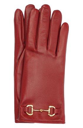 Женские кожаные перчатки GUCCI красного цвета, арт. 603635/BAP00 | Фото 1
