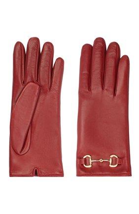 Женские кожаные перчатки GUCCI красного цвета, арт. 603635/BAP00 | Фото 2