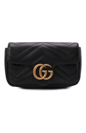 Женская сумка gg marmont super mini GUCCI черного цвета, арт. 476433/DTDCT   Фото 1 (Материал: Натуральная кожа; Ремень/цепочка: На ремешке; Размер: mini; Сумки-технические: Сумки через плечо)