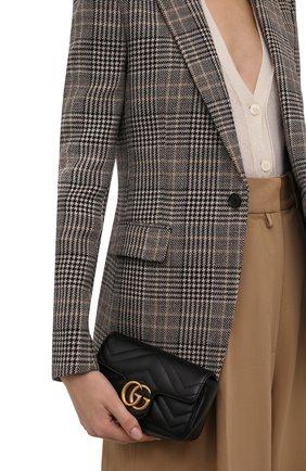 Женская сумка gg marmont super mini GUCCI черного цвета, арт. 476433/DTDCT   Фото 2 (Материал: Натуральная кожа; Ремень/цепочка: На ремешке; Размер: mini; Сумки-технические: Сумки через плечо)
