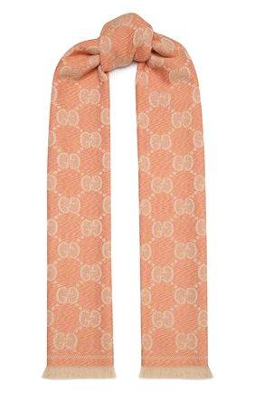 Женский шерстяной шарф GUCCI розового цвета, арт. 627011/3G200   Фото 1