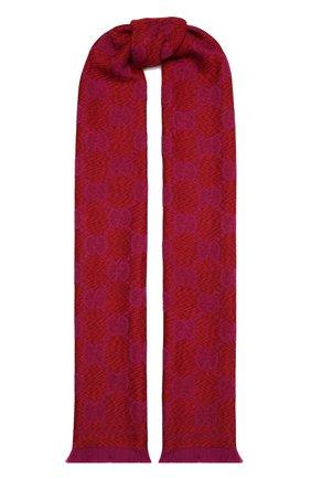 Женский шерстяной шарф GUCCI красного цвета, арт. 627011/3G200 | Фото 1 (Материал: Шерсть)