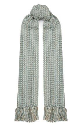 Женский шарф из кашемира и шелка LORO PIANA мятного цвета, арт. FAL2576   Фото 1 (Материал: Кашемир, Шерсть)
