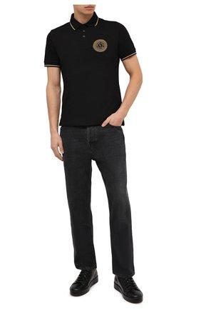 Мужское хлопковое поло VERSACE JEANS COUTURE черного цвета, арт. B3GZA71T-P0L0 ZUP621 S LIM 57/36571   Фото 2