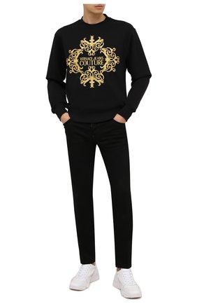 Мужской хлопковый свитшот VERSACE JEANS COUTURE черного цвета, арт. B7GZA712-Z U P 302 SLIM EMB C0UTURE/13988   Фото 2