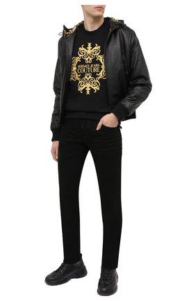 Мужской кожаный бомбер VERSACE JEANS COUTURE черного цвета, арт. ECGZA9P7-Z UPP00/25017   Фото 2