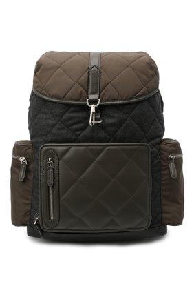 Мужской комбинированный рюкзак ERMENEGILDO ZEGNA темно-зеленого цвета, арт. C1282X-LHTMS | Фото 1