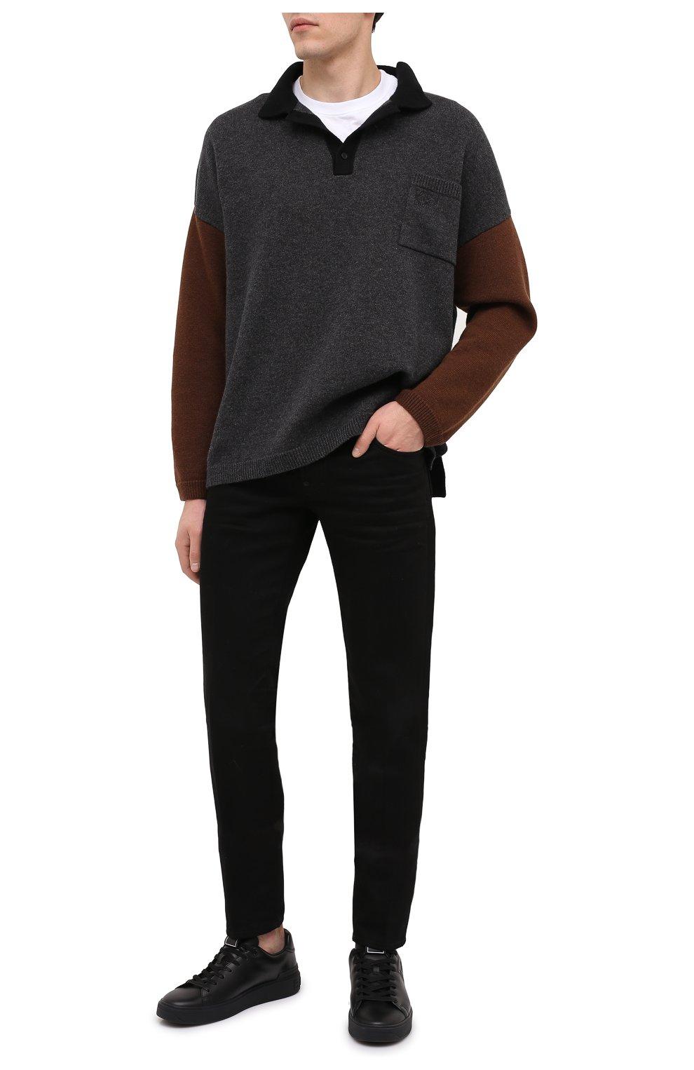 Мужские кожаные кеды b-court BALMAIN черного цвета, арт. UM0C235/LS0B   Фото 2 (Материал внутренний: Натуральная кожа; Подошва: Массивная)