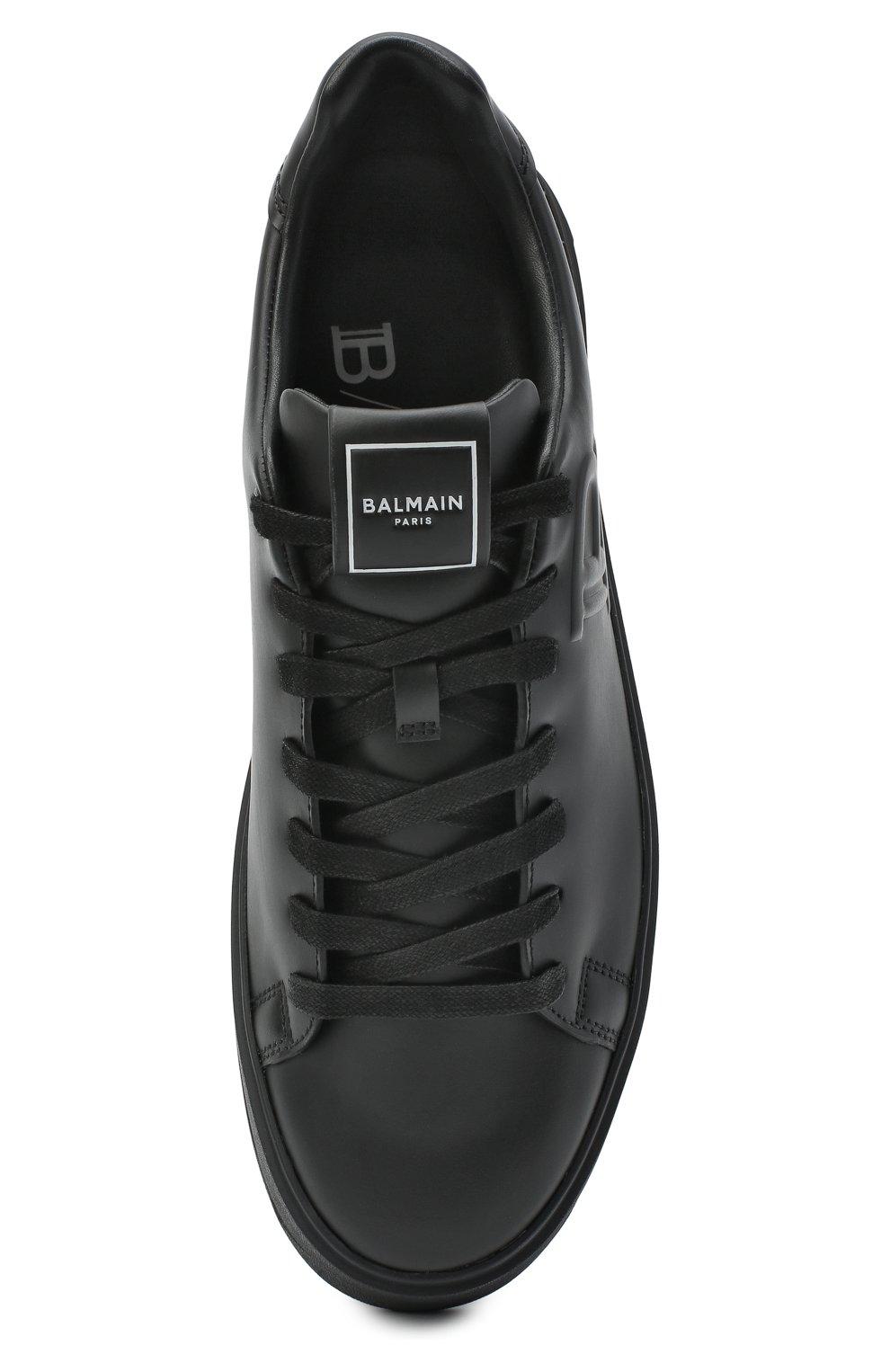 Мужские кожаные кеды b-court BALMAIN черного цвета, арт. UM0C235/LS0B   Фото 5 (Материал внутренний: Натуральная кожа; Подошва: Массивная)