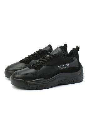 Мужские кожаные кроссовки valentino garavani gumboy VALENTINO черного цвета, арт. UY0S0B17/QSM | Фото 1