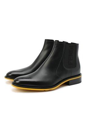 Мужские кожаные челси FENDI черного цвета, арт. 7U1383 AC7J | Фото 1