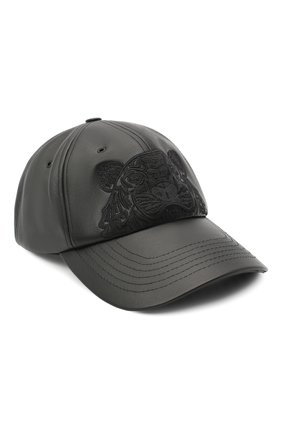 Мужской кожаная бейсболка KENZO черного цвета, арт. FA65AC301L49   Фото 1