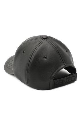 Мужской кожаная бейсболка KENZO черного цвета, арт. FA65AC301L49   Фото 2