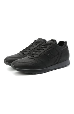 Мужские кожаные кроссовки HOGAN черного цвета, арт. HXM3210K15203R | Фото 1
