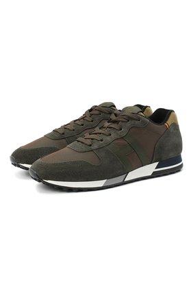 Мужские комбинированные кроссовки HOGAN хаки цвета, арт. HXM3830AN510D8 | Фото 1