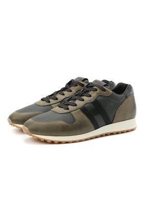 Мужские комбинированные кроссовки HOGAN хаки цвета, арт. HXM4290CZ620EI | Фото 1