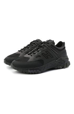 Мужские комбинированные кроссовки HOGAN черного цвета, арт. HXM4770CQ940GR | Фото 1
