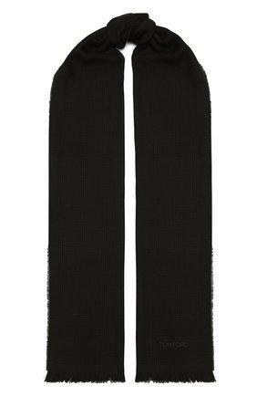 Мужской шерстяной шарф TOM FORD темно-коричневого цвета, арт. 8TF135/2BL | Фото 1