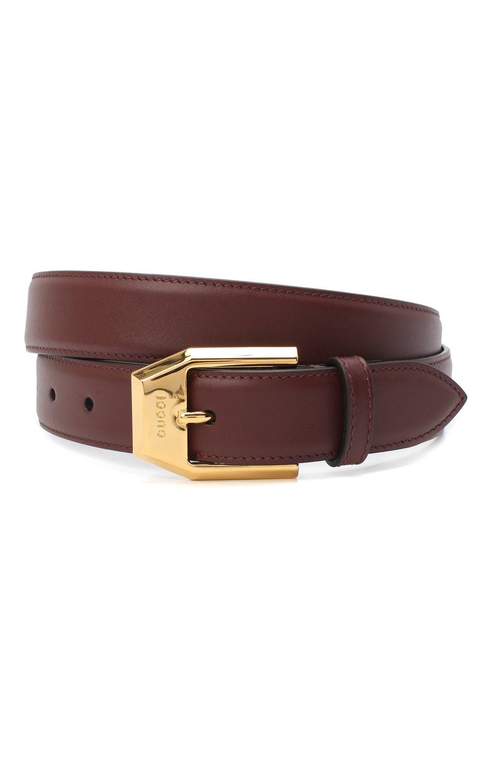 Мужской кожаный ремень GUCCI бордового цвета, арт. 625473/BGH0G   Фото 1 (Случай: Повседневный)