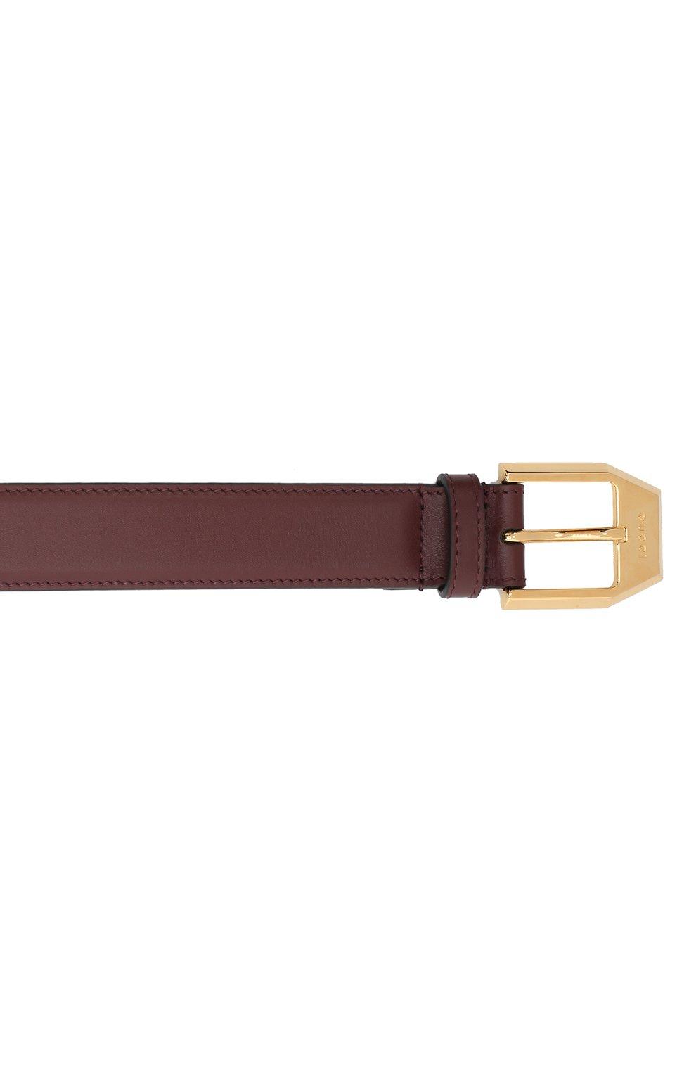 Мужской кожаный ремень GUCCI бордового цвета, арт. 625473/BGH0G   Фото 3 (Случай: Повседневный)