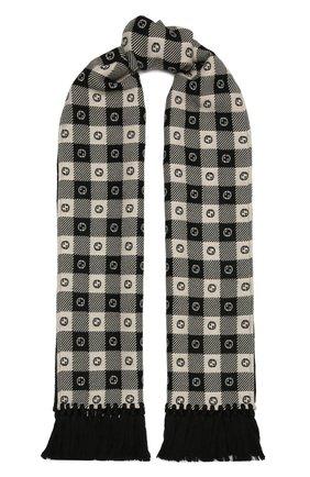 Мужской шарф из шерсти и хлопка GUCCI черного цвета, арт. 633990/4GB21 | Фото 1
