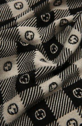 Мужской шарф из шерсти и хлопка GUCCI черного цвета, арт. 633990/4GB21 | Фото 2