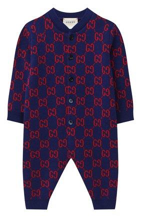 Детский шерстяной комбинезон GUCCI темно-синего цвета, арт. 621875/XKBGY | Фото 1