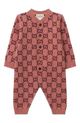 Детский шерстяной комбинезон GUCCI розового цвета, арт. 621875/XKBGY | Фото 1