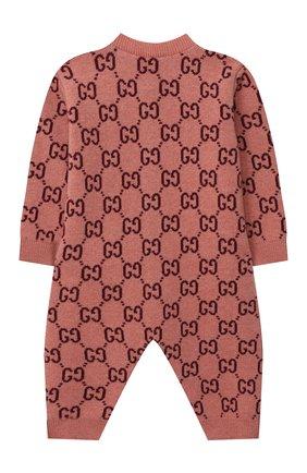 Детский шерстяной комбинезон GUCCI розового цвета, арт. 621875/XKBGY | Фото 2
