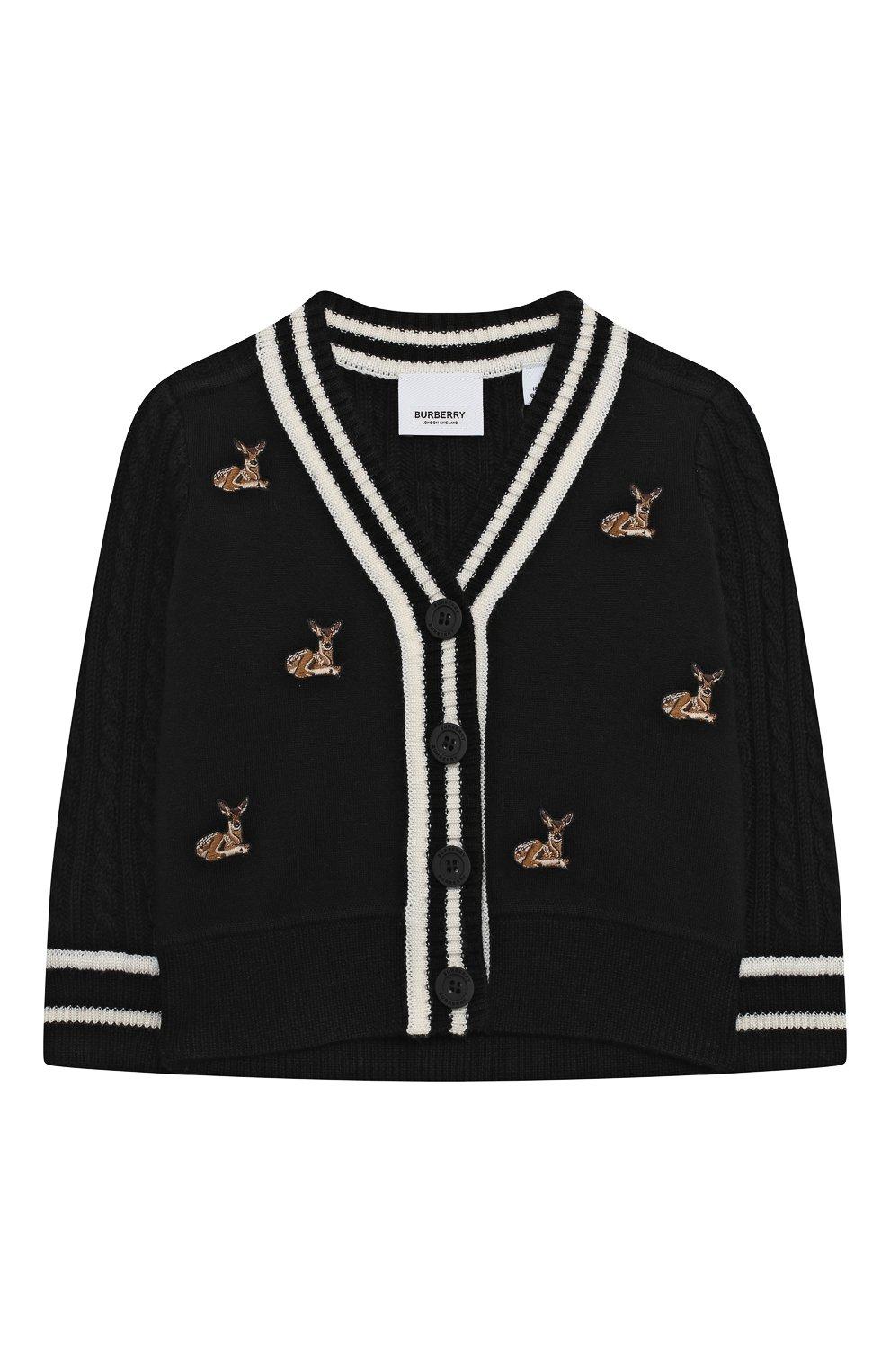Детский шерстяной кардиган BURBERRY черного цвета, арт. 8027676 | Фото 1 (Материал внешний: Шерсть; Рукава: Длинные; Ростовка одежда: 12 мес | 80 см, 18 мес | 86 см, 24 мес | 92 см)