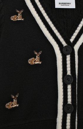Детский шерстяной кардиган BURBERRY черного цвета, арт. 8027676 | Фото 3 (Материал внешний: Шерсть; Рукава: Длинные; Ростовка одежда: 12 мес | 80 см, 18 мес | 86 см, 24 мес | 92 см)