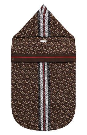 Детский хлопковый конверт BURBERRY коричневого цвета, арт. 8030358 | Фото 1