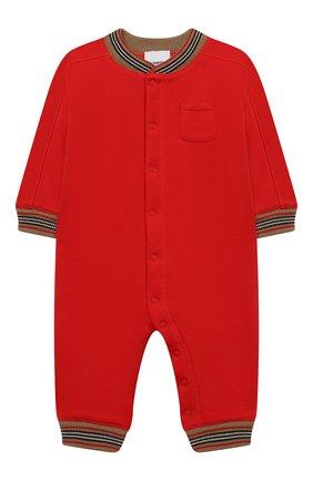 Детского хлопковый комбинезон BURBERRY красного цвета, арт. 8030369 | Фото 1