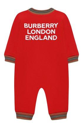 Детского хлопковый комбинезон BURBERRY красного цвета, арт. 8030369 | Фото 2