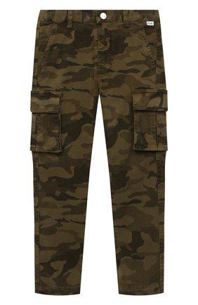 Детские хлопковые брюки-карго IL GUFO хаки цвета, арт. A20PL308C4053/2A-4A | Фото 1 (Материал внешний: Хлопок; Мальчики Кросс-КТ: Брюки-одежда; Ростовка одежда: 18 мес | 86 см, 2 года | 92 см, 3 года | 98 см)
