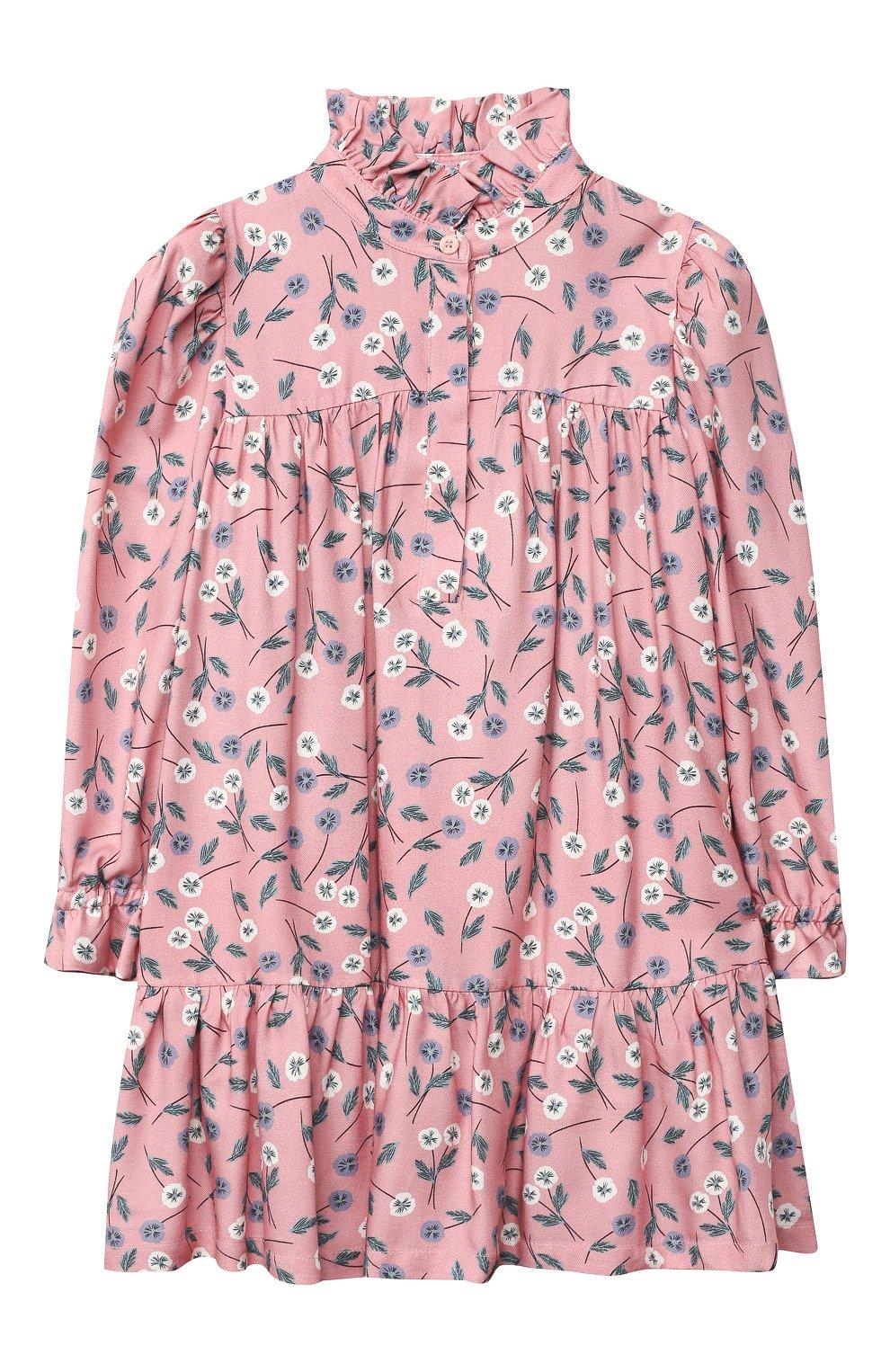 Детское платье IL GUFO розового цвета, арт. A20VL410N4016/5A-8A | Фото 1 (Рукава: Длинные; Случай: Повседневный)
