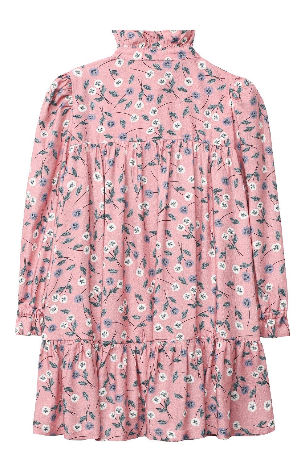 Детское платье IL GUFO розового цвета, арт. A20VL410N4016/5A-8A | Фото 2 (Рукава: Длинные; Случай: Повседневный)