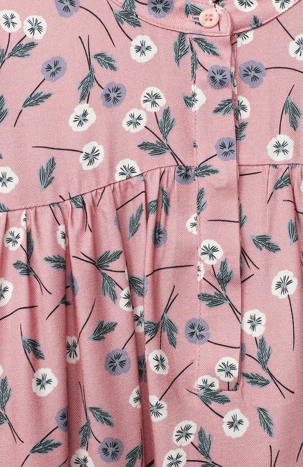 Детское платье IL GUFO розового цвета, арт. A20VL410N4016/5A-8A | Фото 3 (Рукава: Длинные; Случай: Повседневный)