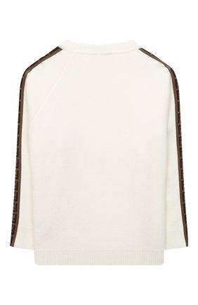 Детский шерстяной пуловер FENDI белого цвета, арт. JUG003/A8L9/3A-6A   Фото 2