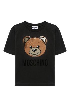 Детская хлопковая футболка MOSCHINO черного цвета, арт. H5M029/LBA12/4A-8A | Фото 1