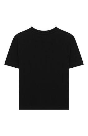 Детская хлопковая футболка MOSCHINO черного цвета, арт. H5M029/LBA12/4A-8A | Фото 2