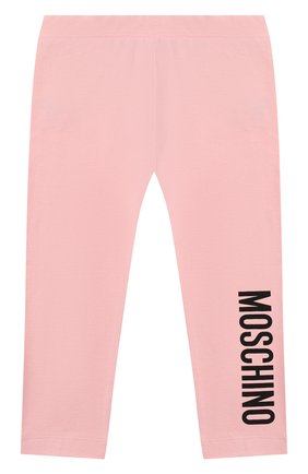 Детские хлопковые леггинсы MOSCHINO розового цвета, арт. MJP02B/LBA11 | Фото 1