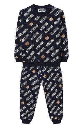 Детский комплект из свитшота и брюк MOSCHINO темно-синего цвета, арт. MMK02P/LDB45 | Фото 1